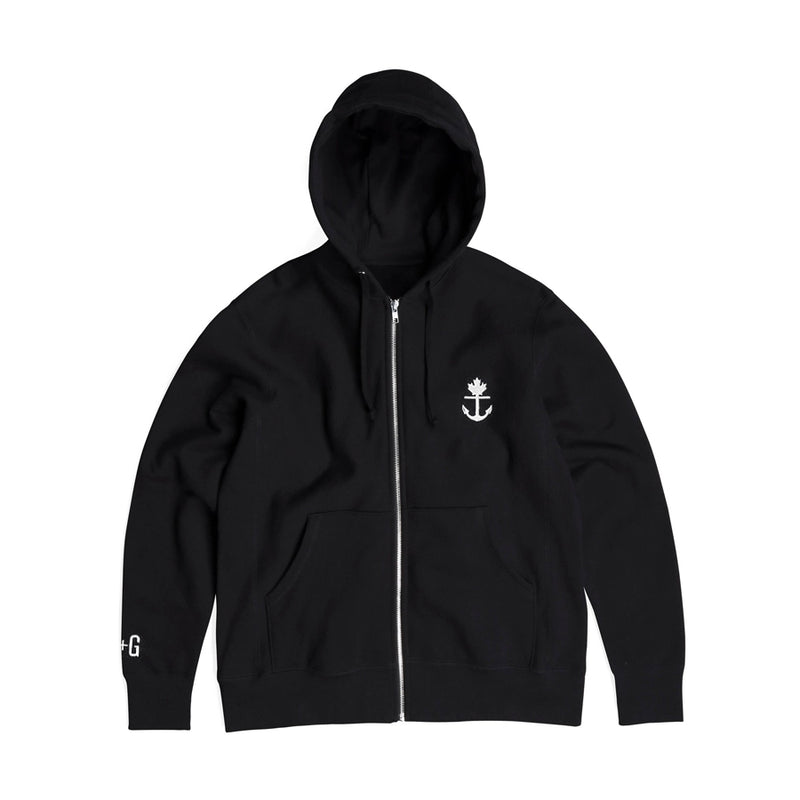 Heavy-Duty Black Zip-Up Hoodie