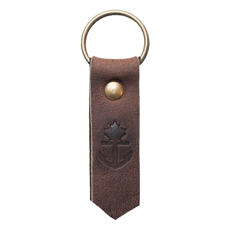 Classic Anchor Leather Keychain
