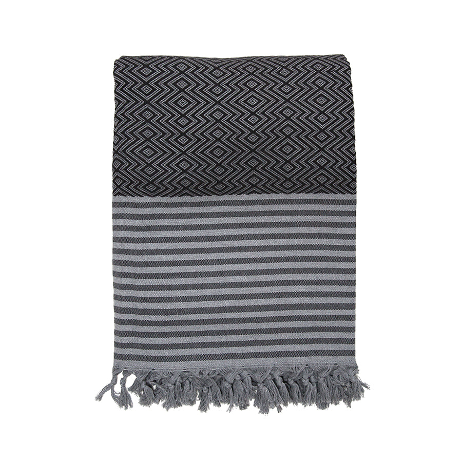 Charcoal/Black Organic Turkish Cotton Throw