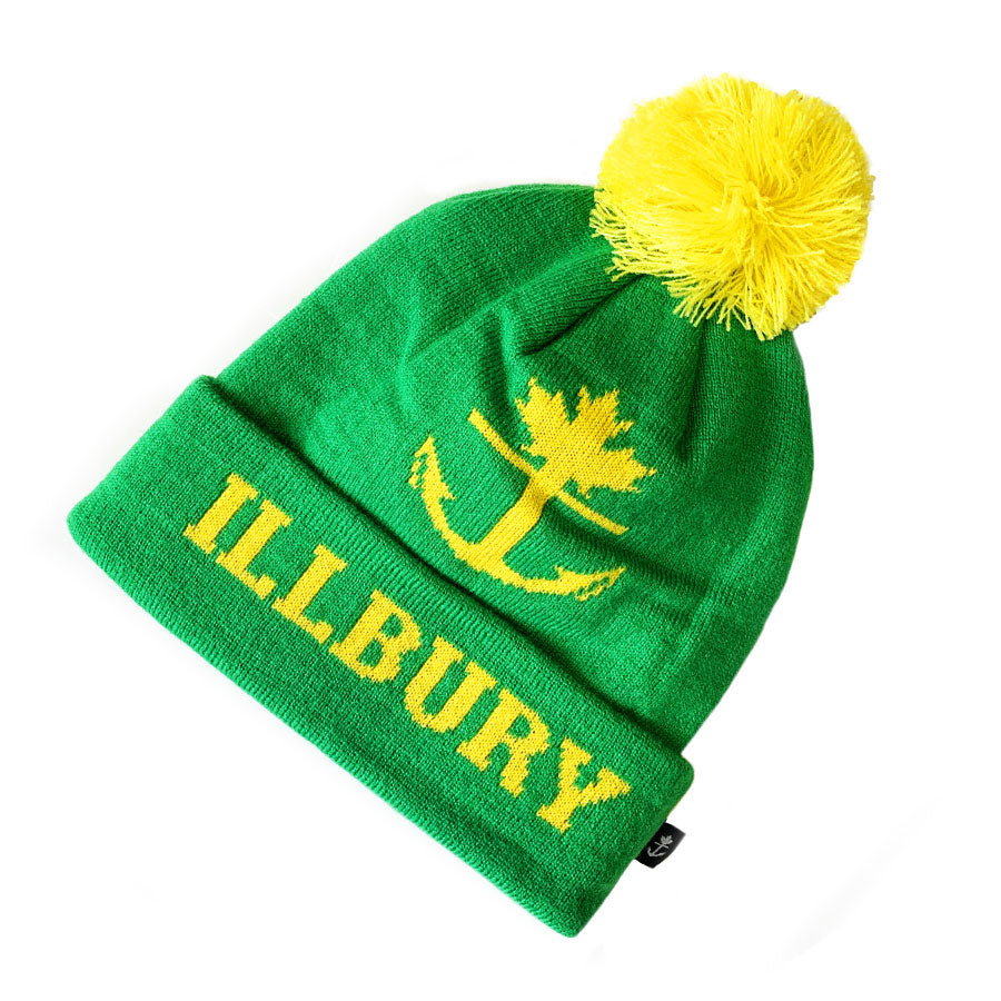 Retro Green/Gold Classic Pom Toque