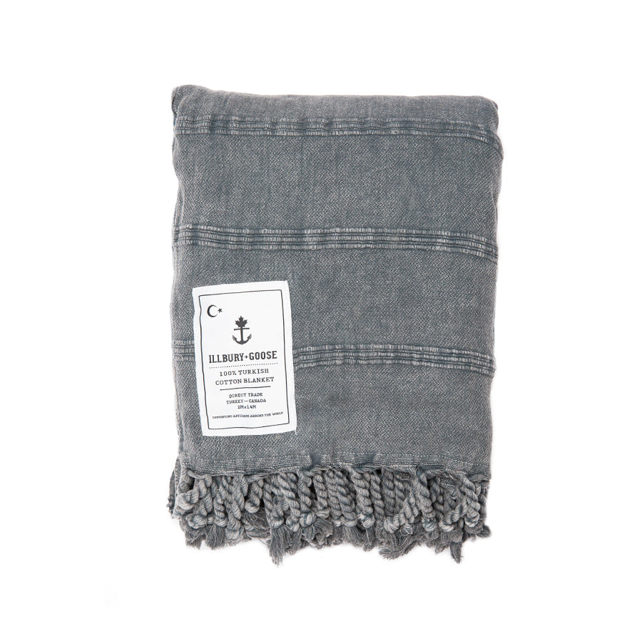 Illbury Stonewashed Charcoal Turkish Throw