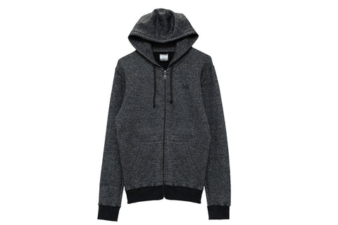 Classic Peppered Black Full Zip Hoodie