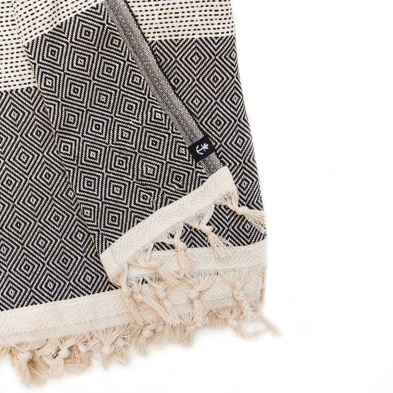 Cream/Black Organic Turkish Cotton Throw