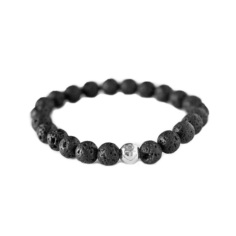 Classic Anchor Volcanic Stone Bracelet x Silver