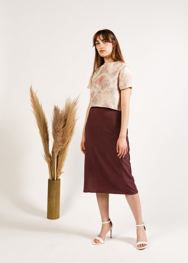(Made to Order) The A-Line Skirt in Noil: Merlot