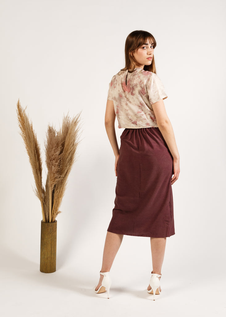 The A-Line Skirt in Noil: Merlot
