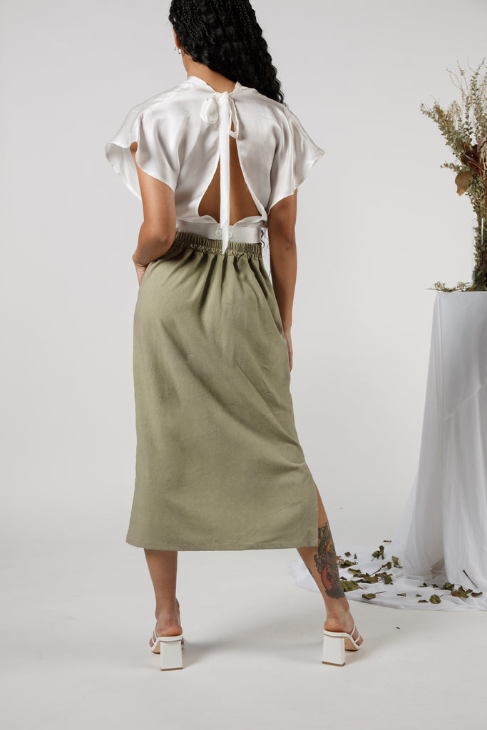 (Made to Order) The A-Line Skirt in Noil: Garden Party