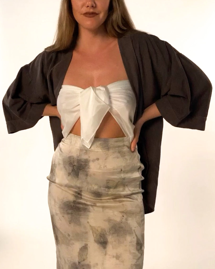 (Made to Order) The Kimono in Noil: Charcoal