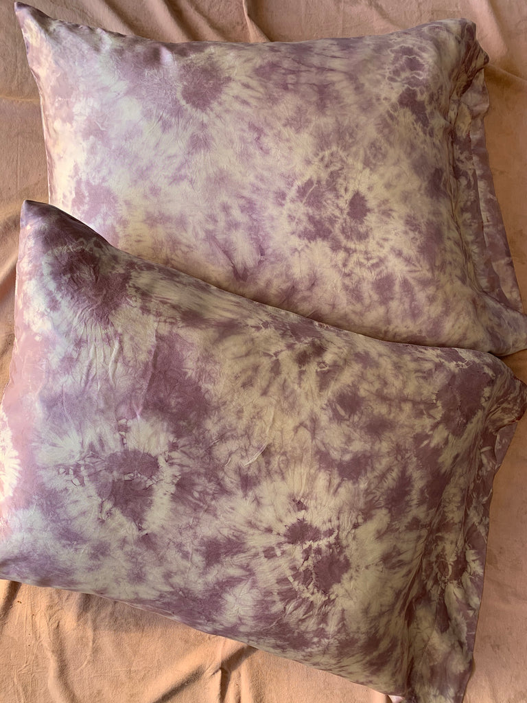Silk Pillowcase Tie-Dye Set: Mauve