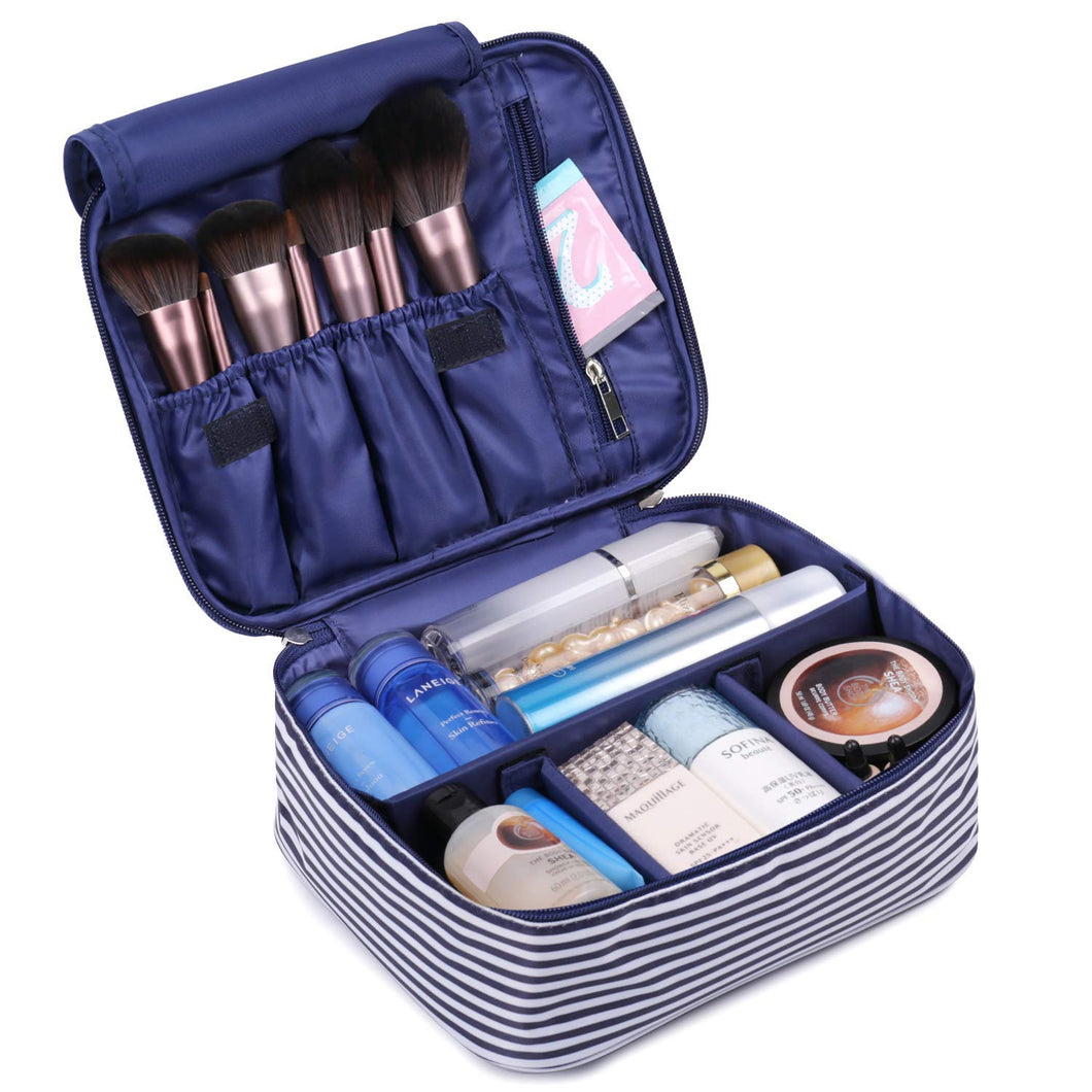 Travel Makeup Bag Large Cosmetic Bag Make up Case Organizer for Women and Girls (Blue Stripe)