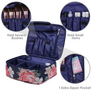 Travel Makeup Bag Large Cosmetic Bag Make up Case Organizer for Women and Girls (Blue Peony)
