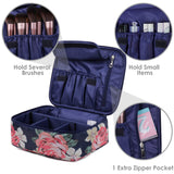 Load image into Gallery viewer, Travel Makeup Bag Large Cosmetic Bag Make up Case Organizer for Women and Girls (Blue Peony)