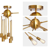 Load image into Gallery viewer, Herrlicht Sputnik Chandeliers Semi Flush Mount Ceiling Light Brass