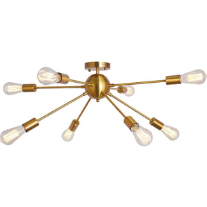 Herrlicht Sputnik Chandeliers Semi Flush Mount Ceiling Light Brass