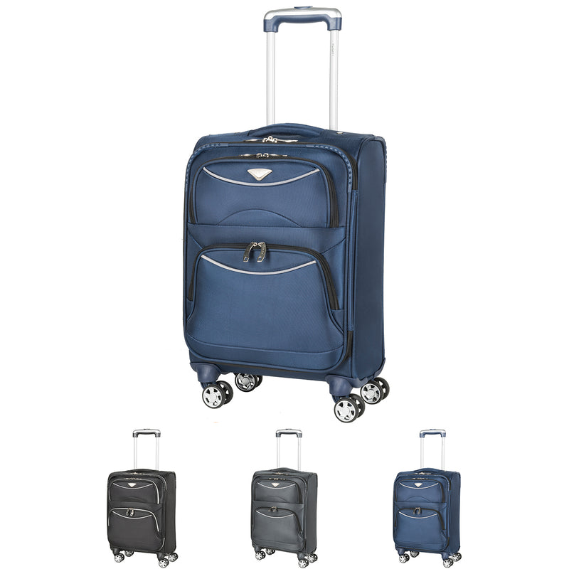 Lightweight 8 Wheel Soft Case Suitcases Virgin Delta Cabin Carry On Hand Luggage