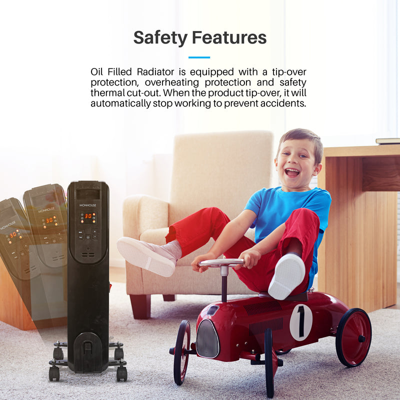 Digital Oil Filled Electric Heater Remote Control Powerful 7-11 Fins 600-2500W