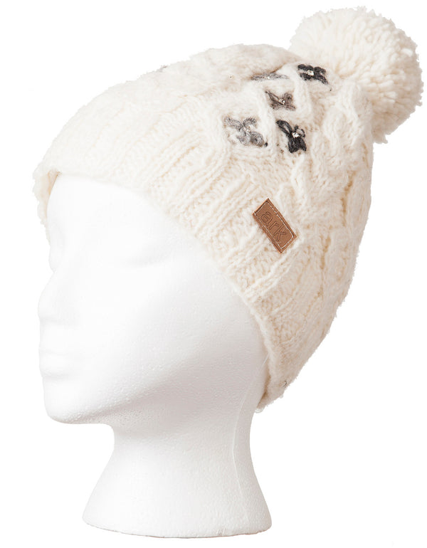 Azalea Pompom Hat White with crystyals
