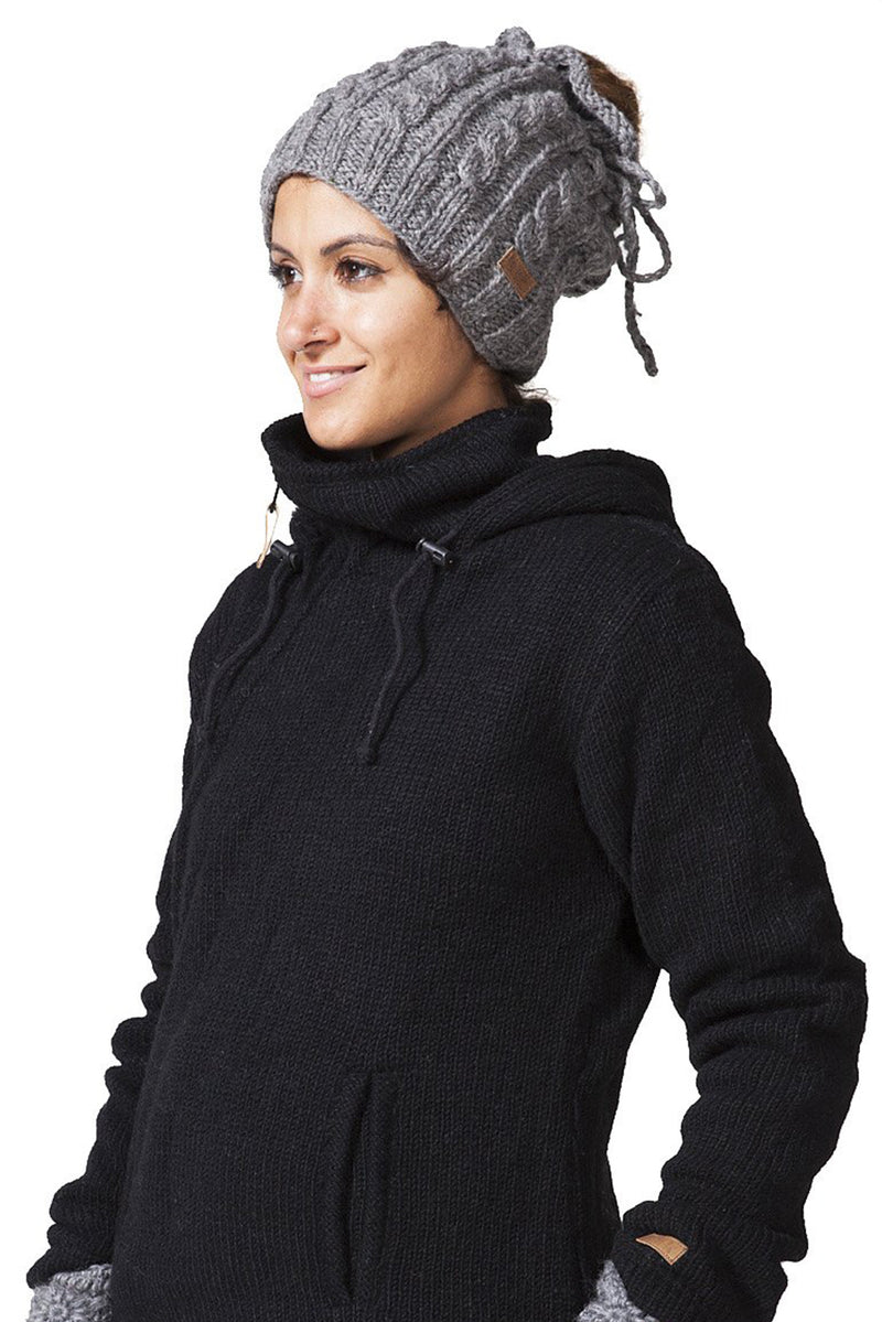 Ponytail/Bun Wool Hat
