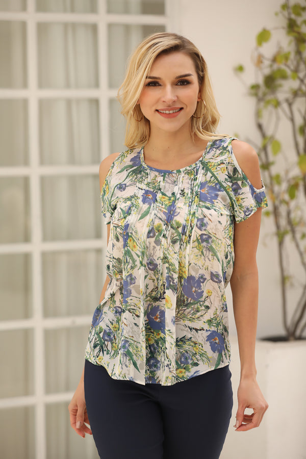 PRINTED PLEATED COLD SHOULDER CHIFFON TOP