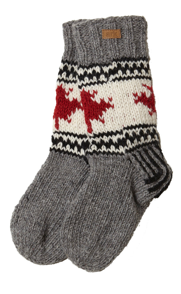 New Zealand Wool and fleece Lined Canadiana Slipper socks- charcoal