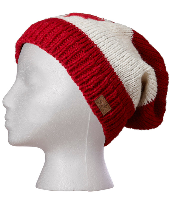 Canadiana Slouch Hat- Red/White