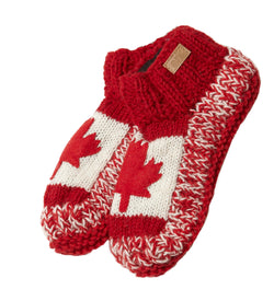 Wool Slippers Canadiana Patchwork- red-white
