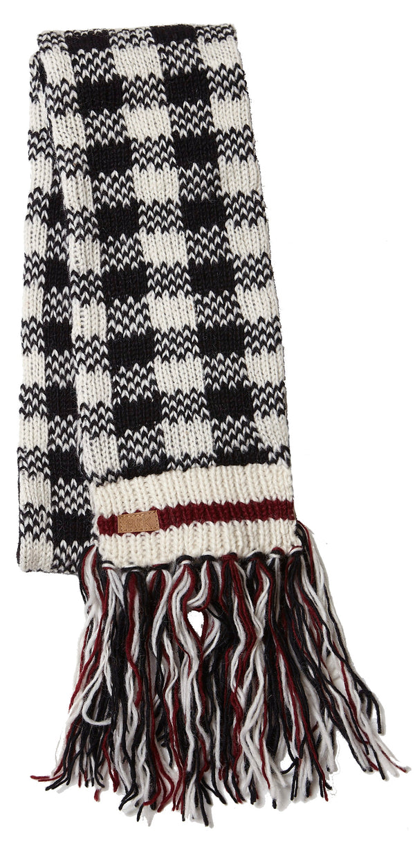 Wool Checkered Scarf- Black/White