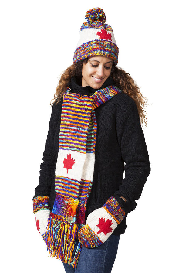 Canadian Multi Colour Wool Mitts