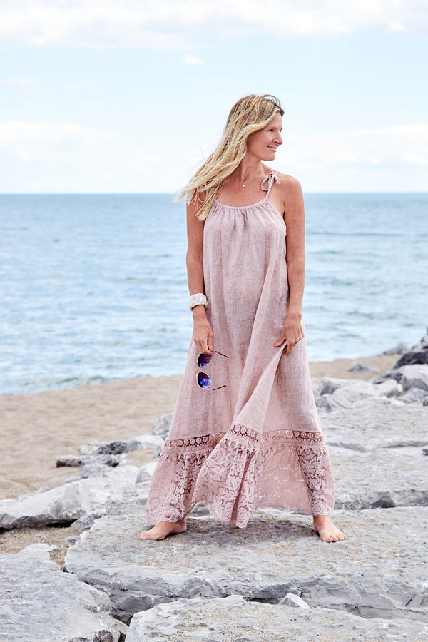Charming Parrot Sustainable Linen Maxi Dress