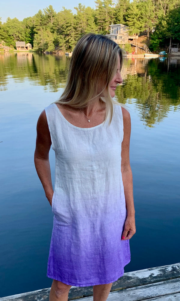 Jaidyn Sleeveless Linen 2 Tone Dress