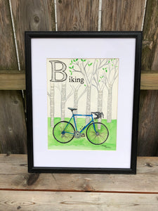 B is for Biking - Original Framed Painting