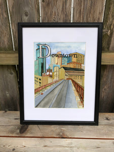 D is for Downtown - Original Framed Painting