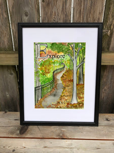 E is for Explore - Original Framed Painting