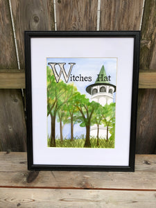 W is for Witches Hat - Original Framed Painting