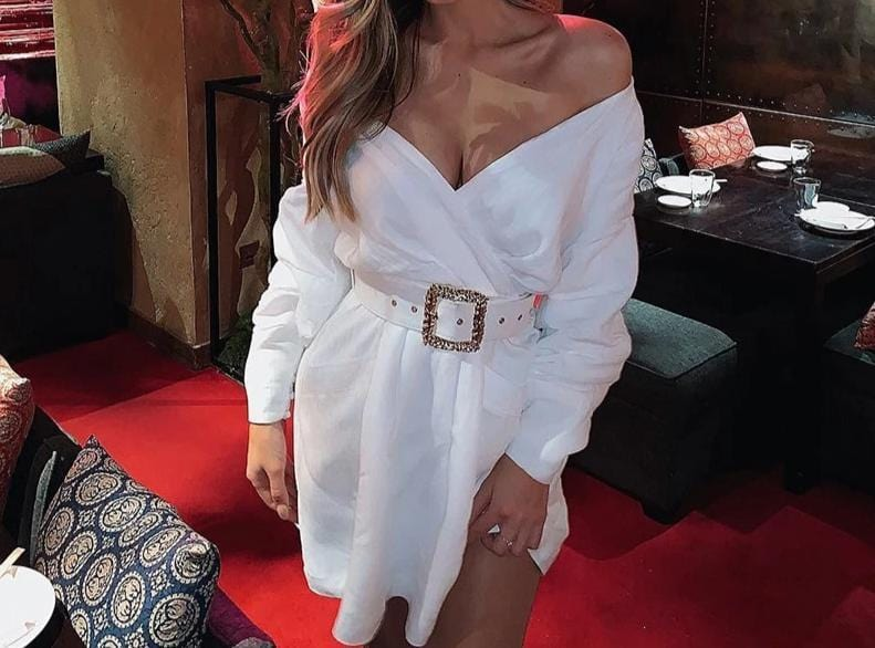 OFF SHOULDER WHITE SEXY DRESS