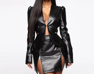 TWO PIECE LEATHER DRESS
