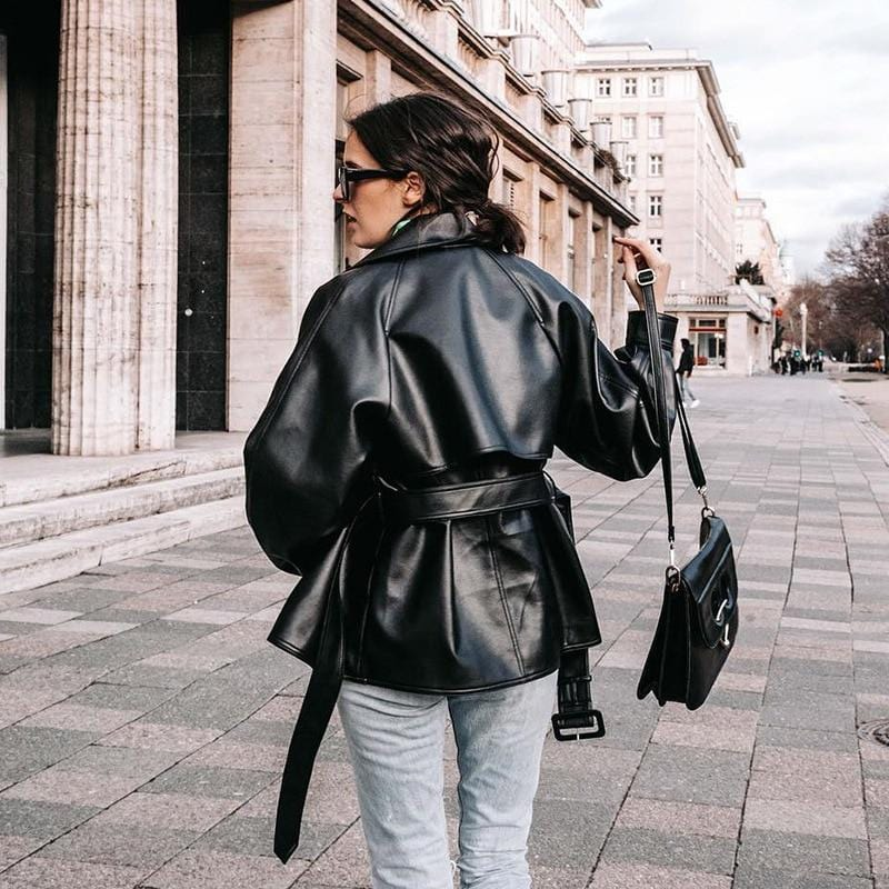 BLACK LONG LEATHER JACKET
