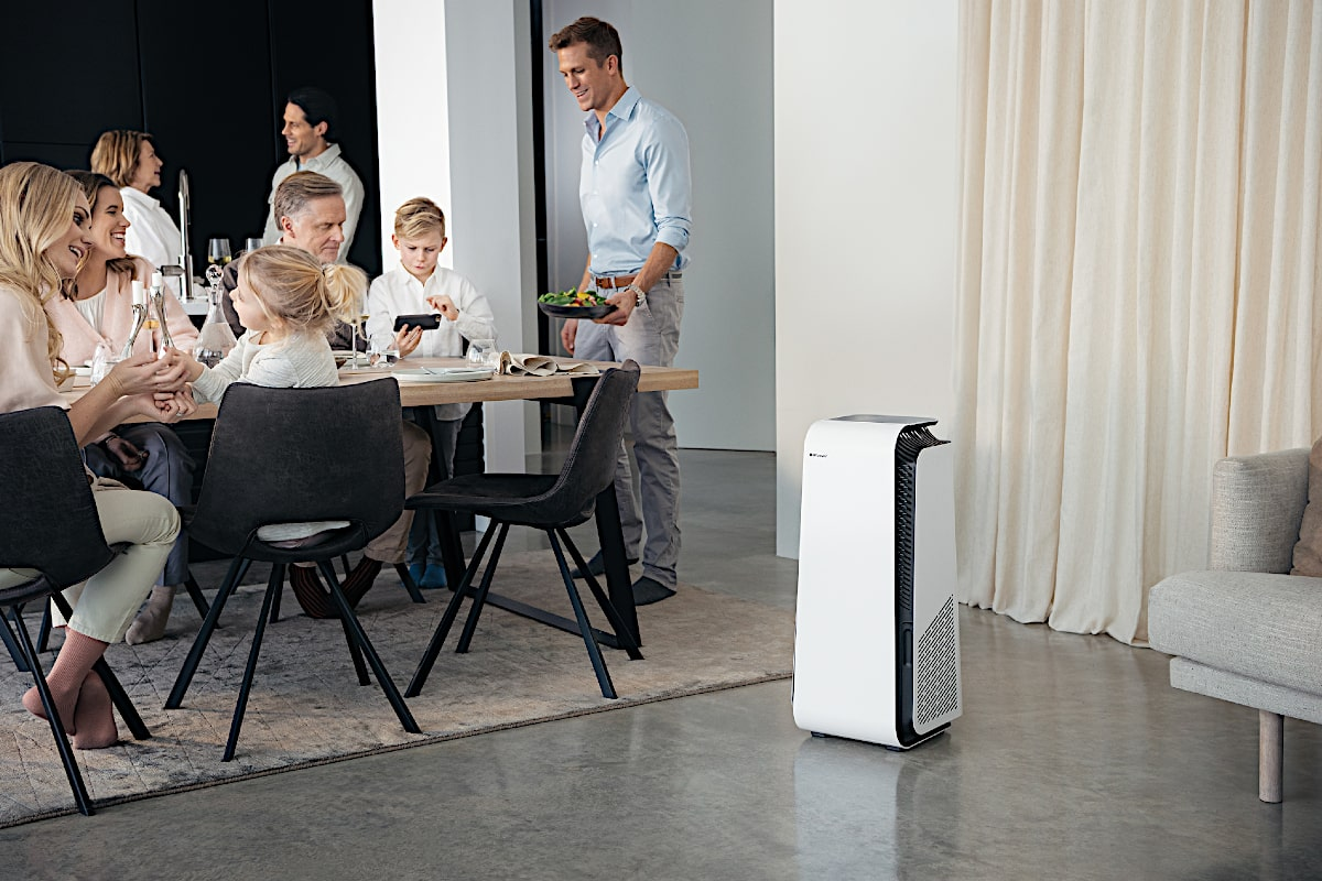 Blueair HealthProtect™ 7440i Air Purifier With Family At Dinner Table - Aerify