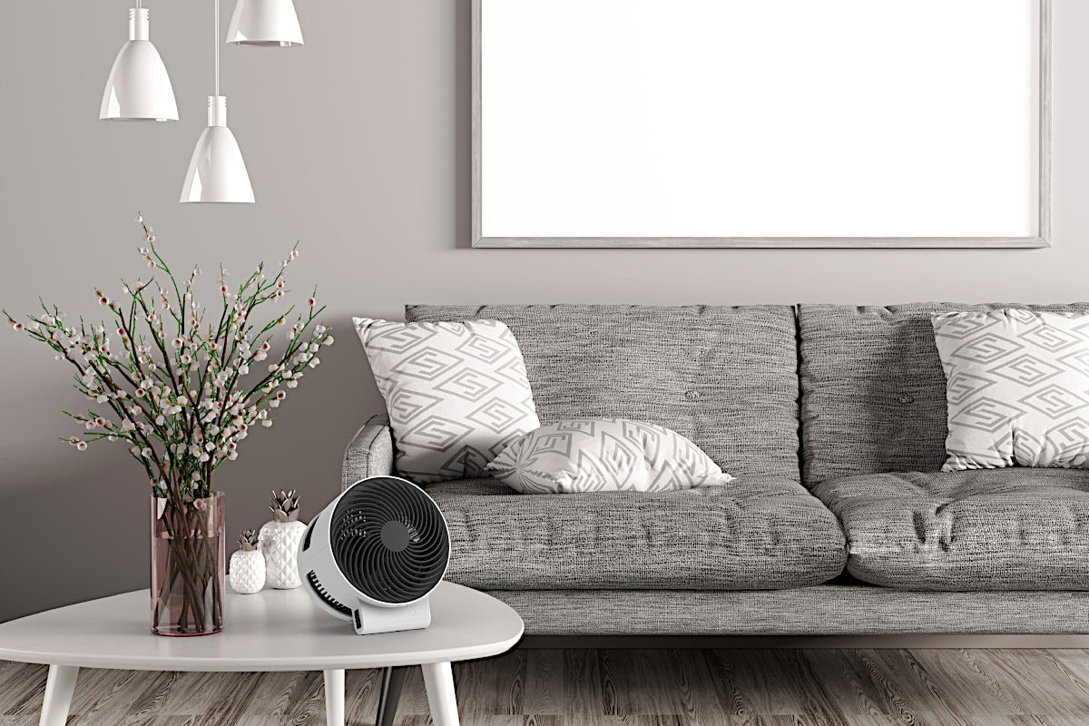 Boneco F100 Desktop Air Shower Fan In Living Room - Aerify