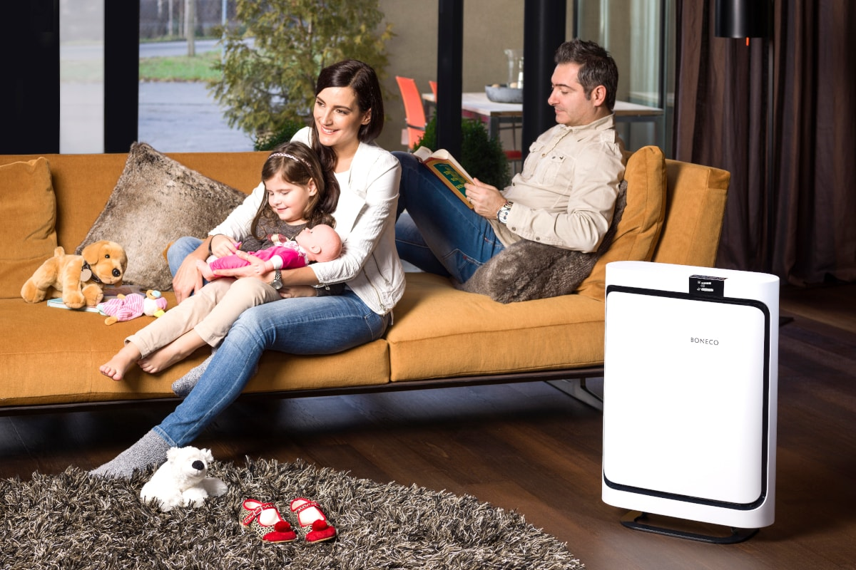 Boneco P500 Room Air Purifier In Living Room With Family - Aerify