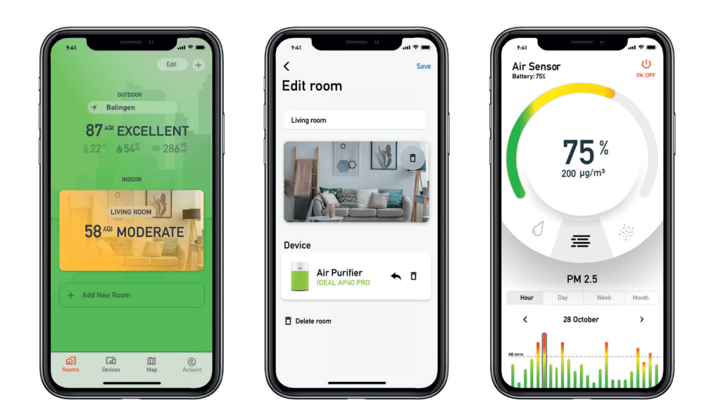 IDEAL AS10 Indoor Air Quality Monitor App - Aerify