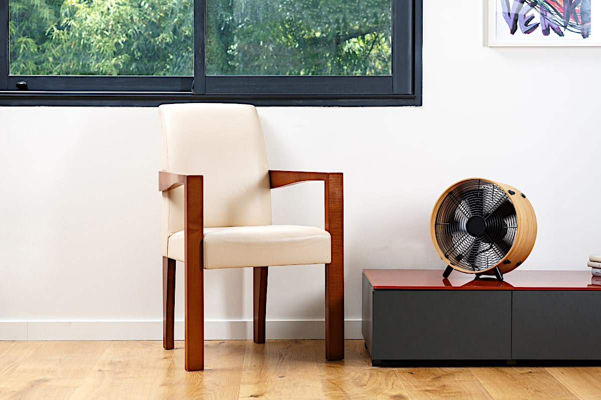 Stadler Form Otto Bamboo Floor Fan On Table By Chair - Aerify