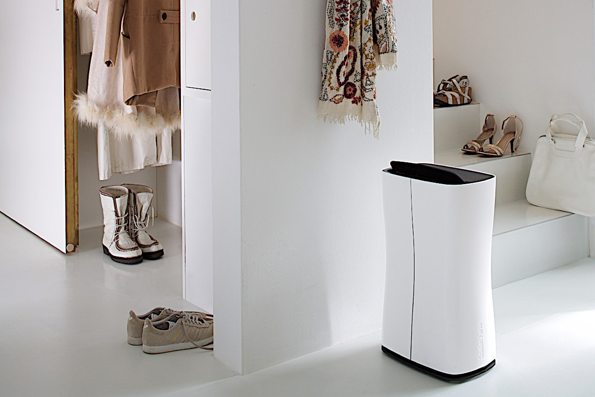 Stadler Form Theo Air Dehumidifier Refrigerant In Hallway By Staircase - Aerify