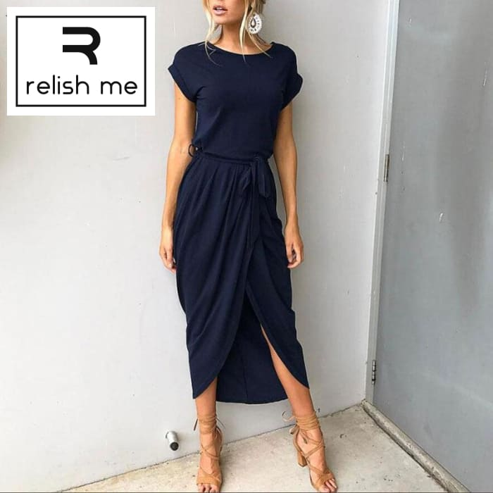 Womens Short Sleeve Elegant Maxi Dress