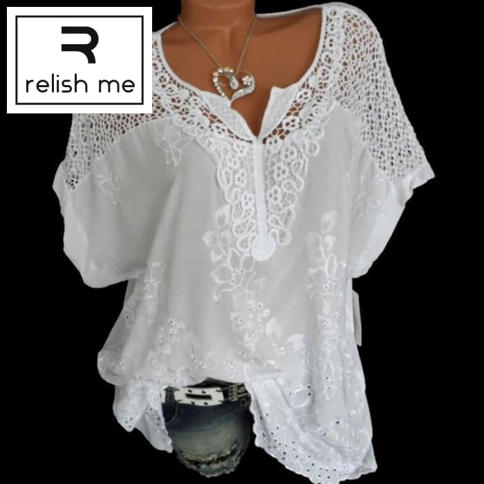 Womens Short Sleeve White Lace Patchwork Shirt Womens Tops