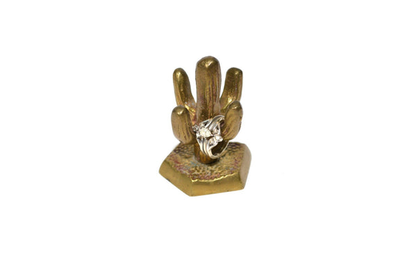 Vintage Brass Cactus Ring Holder Small Brass Cactus Saguaro Cactus Mini Cactus Figurine Brass Ring Holder