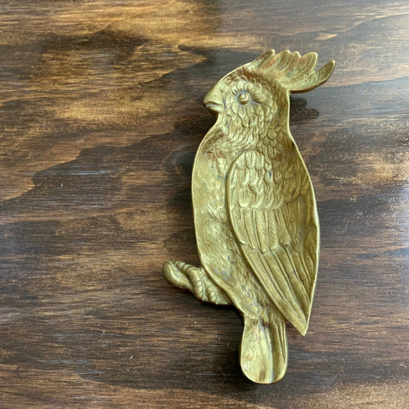 Vintage Brass Parrot Ring Dish Gold Parrot Tray Parrot Ashtray Parrot Decor Gift for Bird Lover