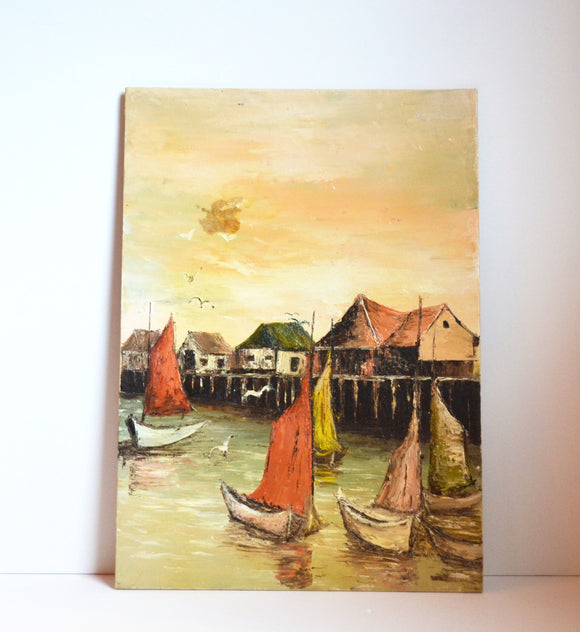 Vintage Acrylic Painting Ships in Harbor Painting Asian Nautical Painting Asian Harbor Painting Vintage Ships In Harbor Acrylic Painting