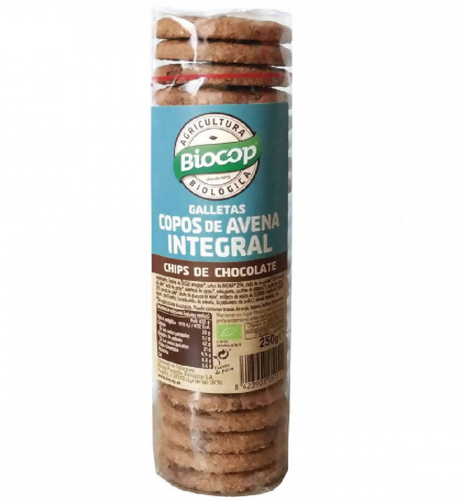 Galletas de avena integral con chips de chocolate · 250 gr. · Biocop
