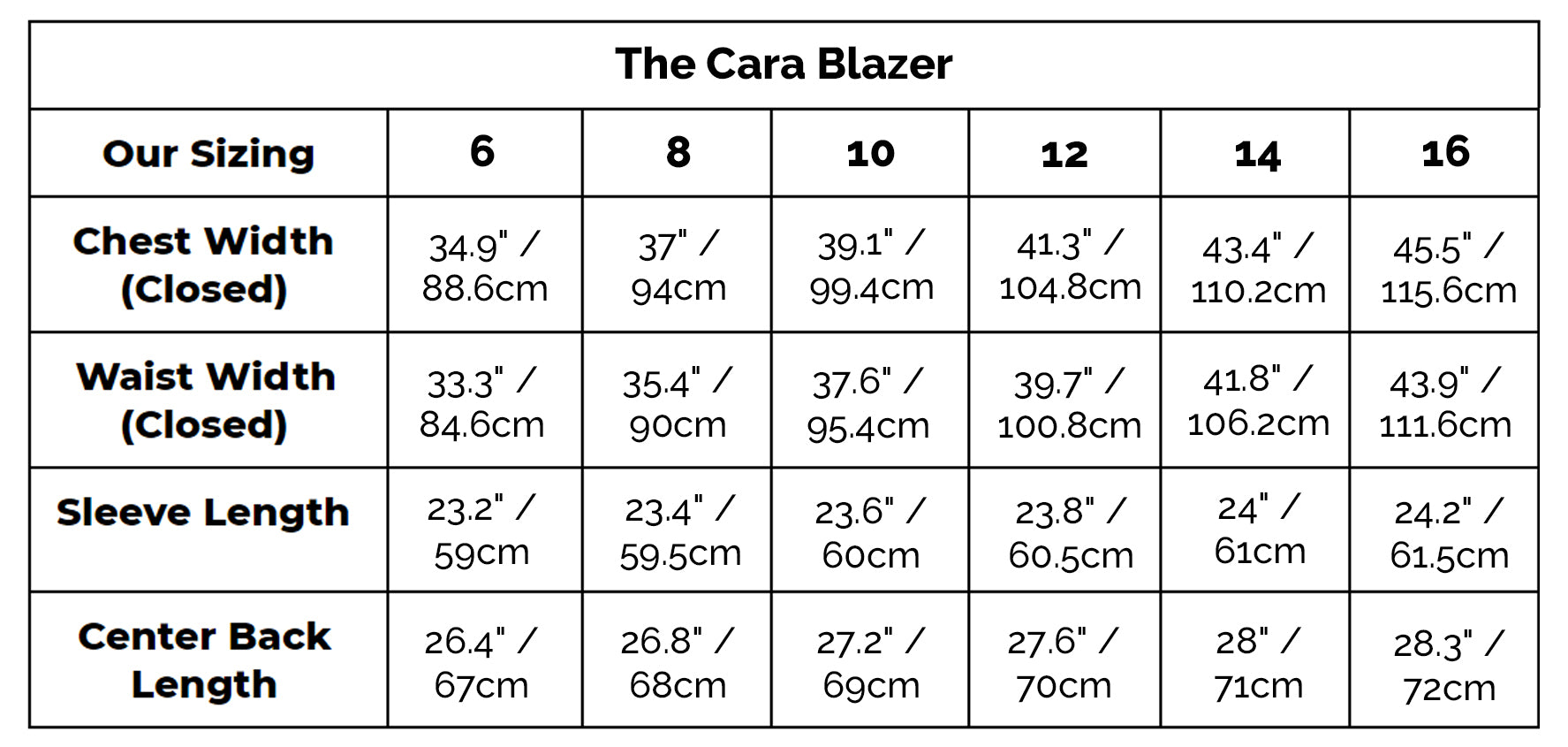 The Cara Blazer Size Guide
